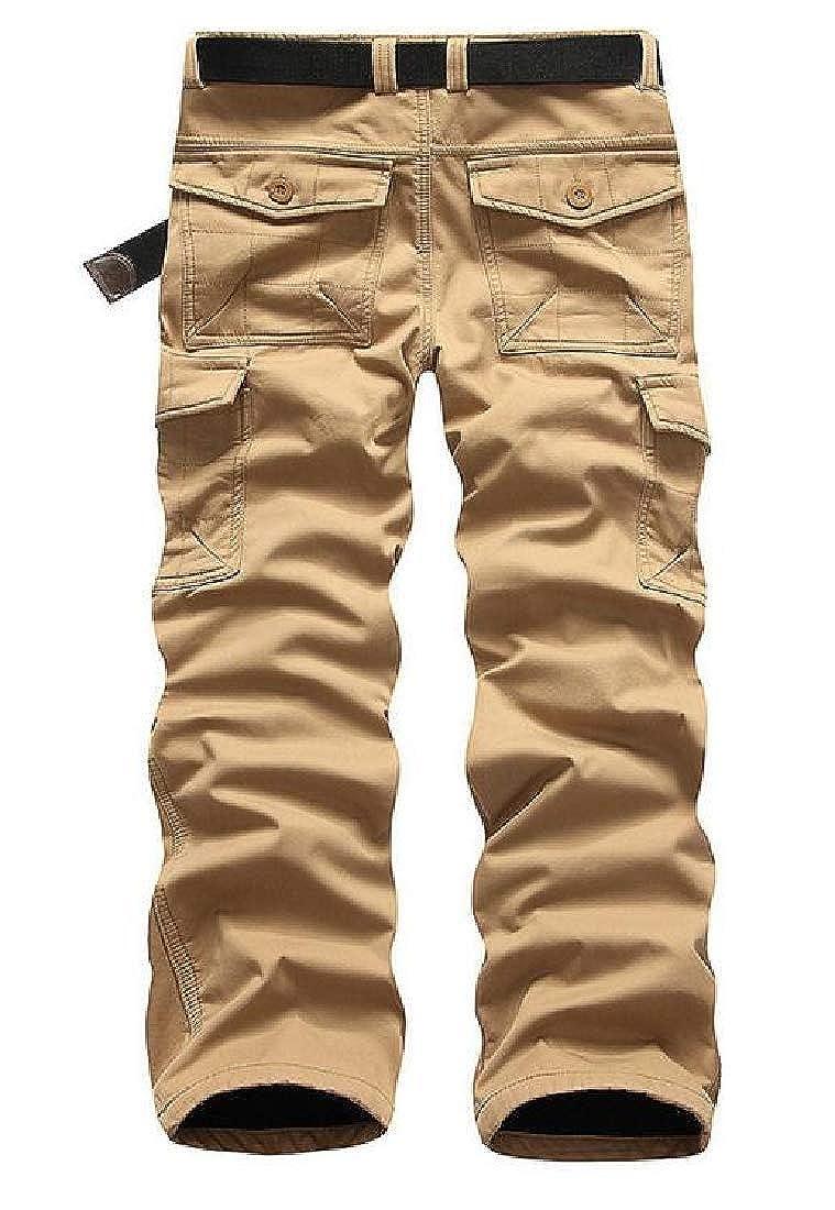 Jotebriyo Men Lined Fleece Winter Straight Camo Print Cargo Pants with Multi Pockets