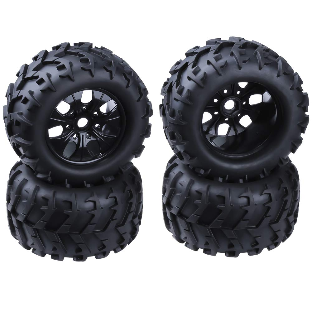 RC 1/8 Monster Truck 3.2'' Tires & Wheel Rims with Foam Inserts 17mm Hex Hub Baja Tyre for Redcat Traxxas HSP Exceed (Set of 4)