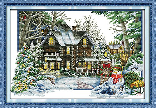 Full Range of Embroidery Starter Kits Stamped Cross Stitch Kits Beginners for DIY Embroidery (Multiple Pattern Designs)-The Winter - House Stitch Pattern Cross