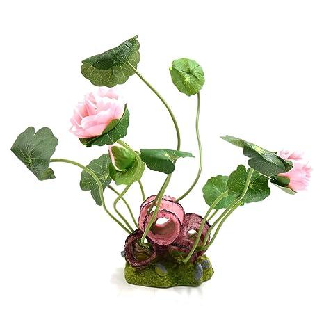 sourcing map Sourcingmap Ligero Pink Plástico Planta Peces De Acuario Tanque De Acuático Decorativo Flor De