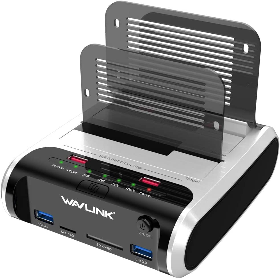 WAVLINK USB 3.0 to SATA Dual Bay External Hard Drive Docking Station with Offline Clone & UASP(6Gbps) Function, 2 USB 3.0 Port, 2 Charging Port, SD & Micro SD Card Reader for 2.5/3.5 Inch HDD/SSD