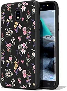 ShinyMax Galaxy J7 2018 Case with Floral Design Heavy Duty Dual Layer Protectvie Cover Anti-Scratch Hybrid Shockproof Cute Case Compatible with Samsung J7 Refine/J7 Star/J7 Crown/J7 Aura (Flowers)