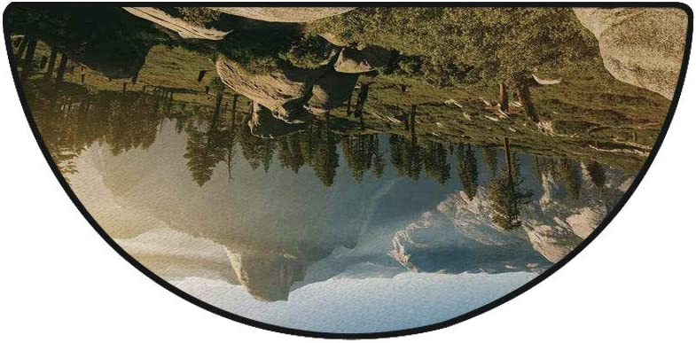 """18"""" x 36"""" Half Round Door Mat,Yosemite Valley and Half Dome in Foggy Morning During Romantic Sunrise Scenery Outdoor/Indoor Entry Rug,for Home Kitchen Office Standing Desk Mats,Green Beige"""