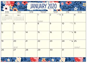 2020 Blue Floral Desk Pad Office Calendar by Bright Day, 16 Month 15.5 x 11 Inch, Flower Large Planner