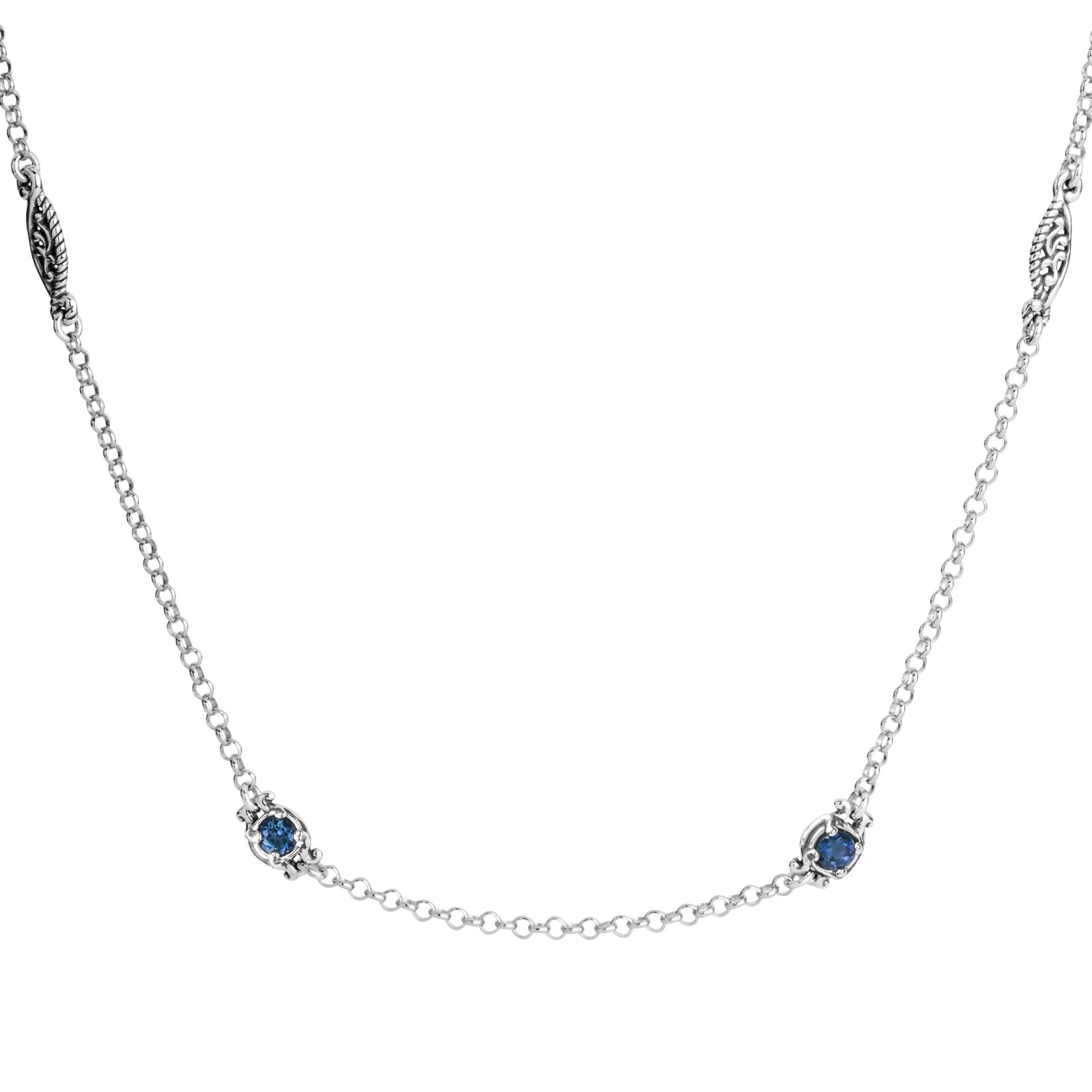 Simply Fabulous Sterling Silver & Faceted Blue Topaz 32 Inch Necklace