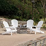Benson Outdoor 5 Piece Acacia Wood/Light Weight Concrete Adirondack Chair Set with Fire Pit, White Finish and Natural Stone Finish