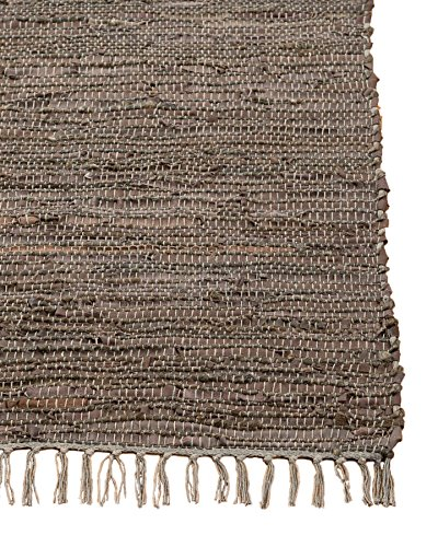 Large Sisal Rugs - NaturalAreaRugs Marchesa Leather Jute Rug, Handmade, 50% Leather, 40% Jute and 10% Cotton, Anti-Static, Durable, Stain Resistant, Environment-Friendly, (8'x10') Brown
