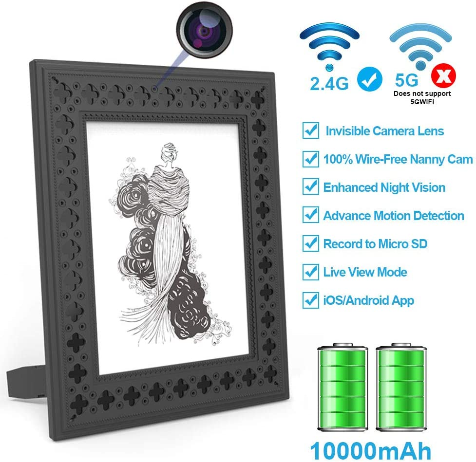 Hidden Camera WiFi Photo Frame HD Home Security Spy Camera Night Vision and Motion Detection Wireless IP Nanny Cam with One Year Battery Standby Time and Instant Alerts to Smartphone Video Only