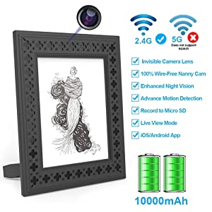 Hidden Camera WiFi Photo Frame HD Home Security Spy Camera Night Vision and Motion Detection Wireless IP Nanny Cam with One Year Battery Standby Time and Instant Alerts to Smartphone (Video Only)