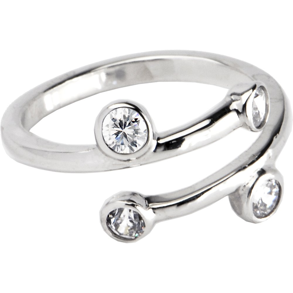 Body Candy 925 Sterling Silver Clear Sparkle Spiral Toe Ring