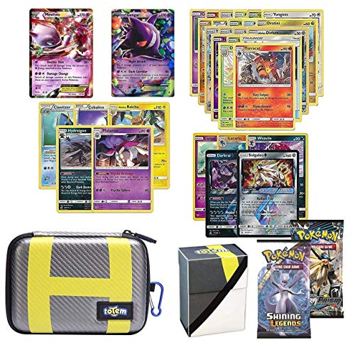 (Totem World Pokemon Cards EX Lot with Ultra Ball Theme Card Case, 2 Pokemon EX Cards Guaranteed, Plus 2 Booster Pack, 5 Rares, 5 Holos, 20 Regular Pokemon Cards, and 1 Deck Box)