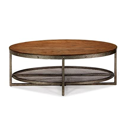 Oval Coffee Table With Shelf.Amazon Com Modhaus Living Industrial Rustic Chic Oval Coffee