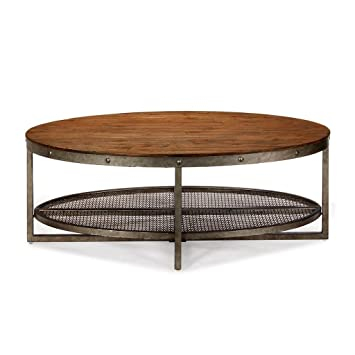 Industrial Rustic Oval Coffee Cocktail Table With Wood Top And Lower Wire  Mesh Shelf   Includes