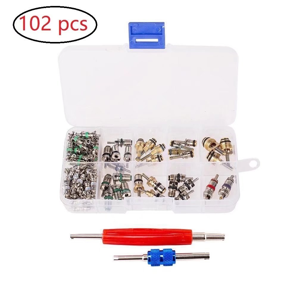 JahyShow 102 Pcs Air Conditioning Valve Core Accessories A/C R12 R134a Refrigeration Tire Valve Stem Core Remover Tool Kit