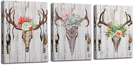 DECORATIVE STAG ANTLERS FLORAL DESIGN Poster Illustration Canvas art Prints