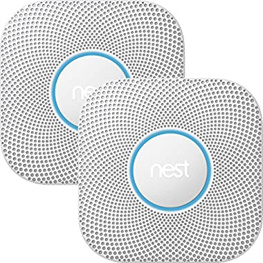 Nest Protect smoke & carbon monoxide alarm, Battery (2nd gen) Bundle - Two Nest Protects and $10 Amazon Gift Card