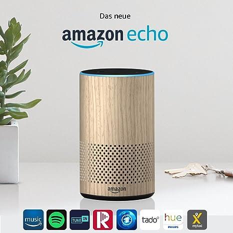 Amazon Echo, Zertifiziert und generalüberholt, (2. Generation), Eiche Optik