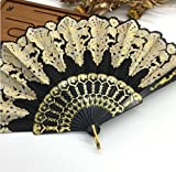 Black Fashion Vintage Spanish Plastic Embroidered Hand Folding Women Girl Dancing Fan Home Decor Tools
