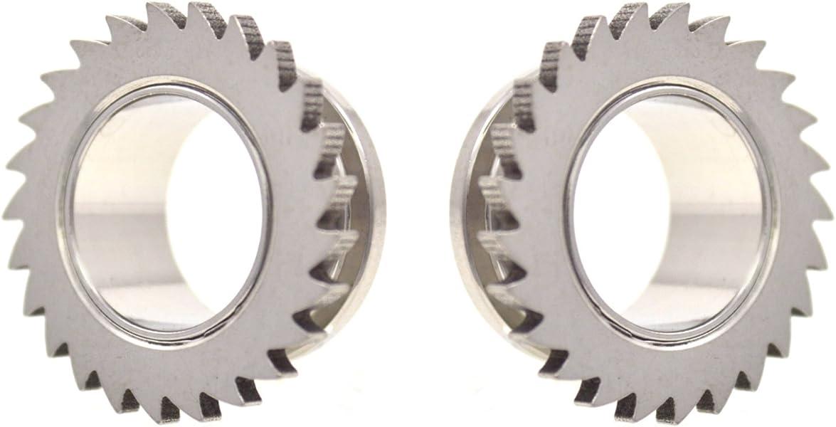 PAIR-Steel Screw In Ear Tunnels 08mm//0 Gauge Body Jewelry