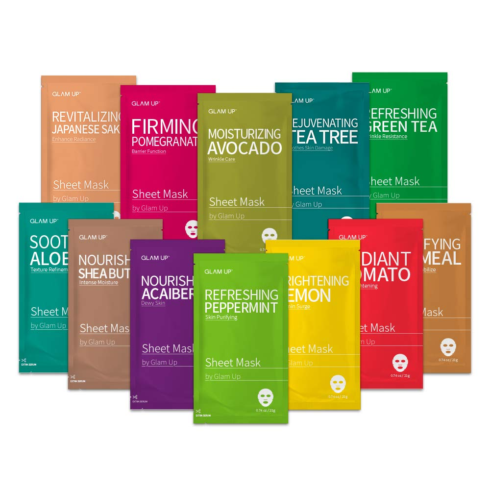 Sheet mask by Glam Up Facial Sheet Mask BTS 12Combo-The Ultimate Supreme Collection for Every Skin Condition Day to Day Skin Concerns. Nature made Freshly packed Original Korean Face Mask 12sheets by Glam Up