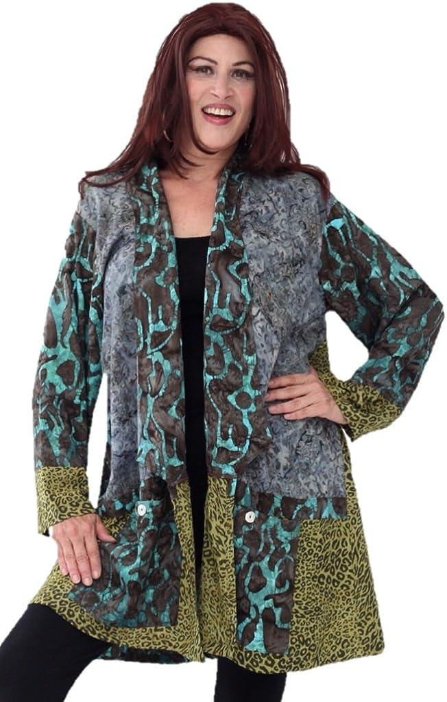 LOTUSTRADERS Jacket Kimono Patch Batik Pockets P432