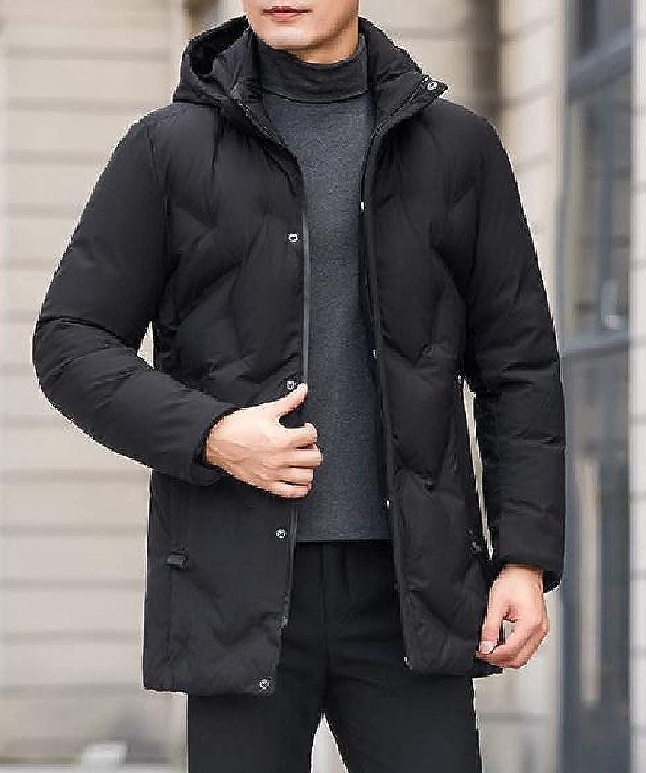 YUNY Men Premium Thicken Full-Zip Outwear Winter Hooded Standard-fit Down Coat Black 2XL