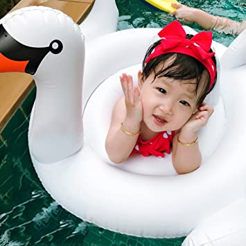 LANYUKEJI Cisne Flotador Hinchable para Bebé Lindo Barco Asiento ...