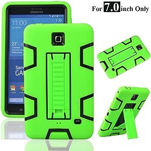 "MagicSky Galaxy Tab 4 7.0"" Case, 3in1 Heavy Duty Hybrid Shockproof Armor Kickstand Case for Samsung Galaxy Tab 4 7.0 inch T230 /T231/ T235 Galaxy Tab 4 Nook Cover - Black/Green"