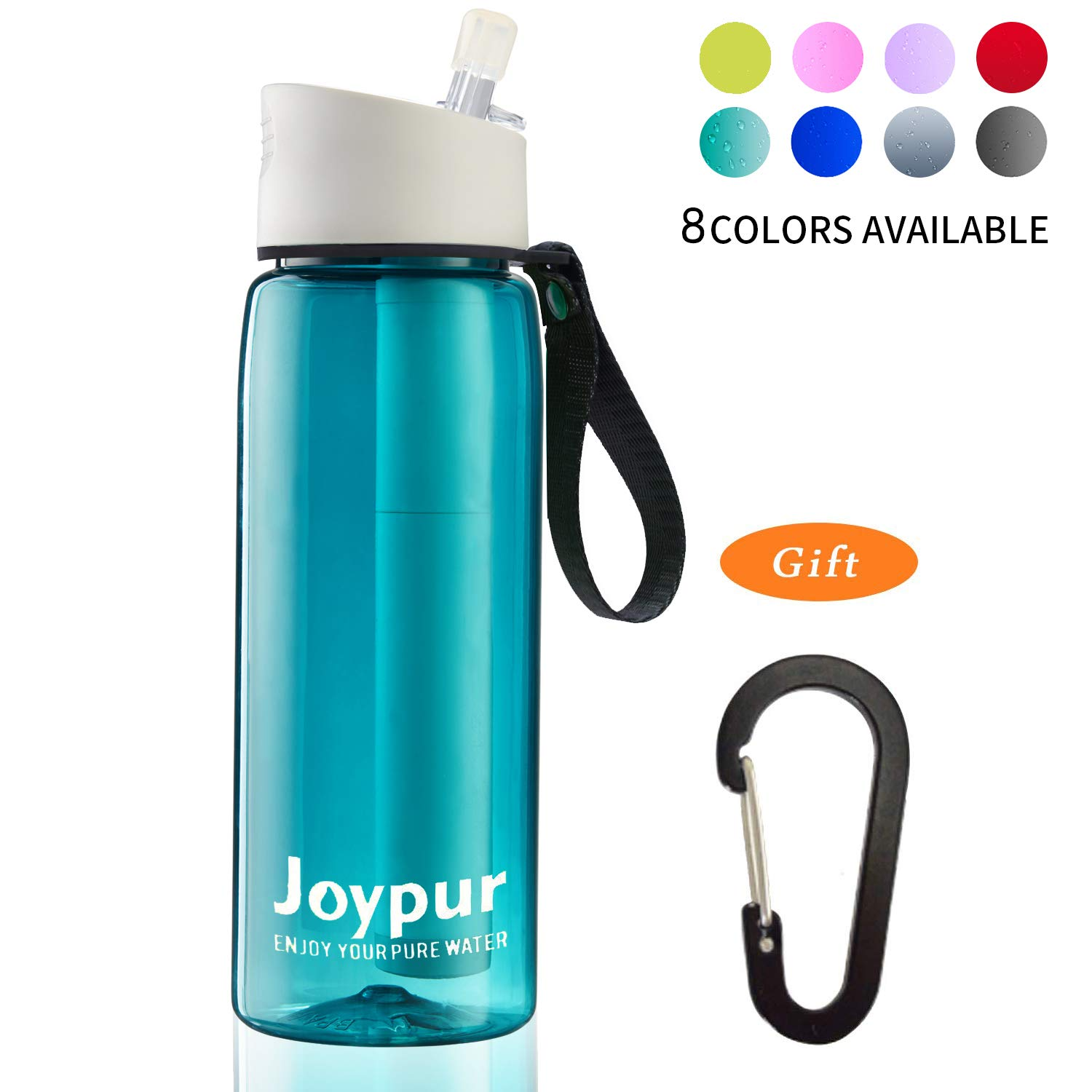 joypur Portable Filtered Water Bottle - Emergency Water Purifier Bottle for Tap Water, 4-Stage Integrated Filter Water Bottle Straw for Camping Hiking Backpacking