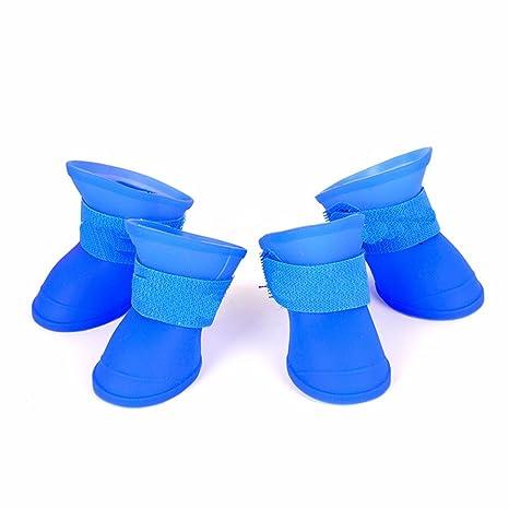 4pcs/Set perros zapatos Candy Colors impermeable de goma suave lluvia Pet botas para gatos