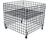 KC Store Fixtures 54100 Dump Bin, 36'' x 36'' x 30'' High Grid Panels with Casters, Black