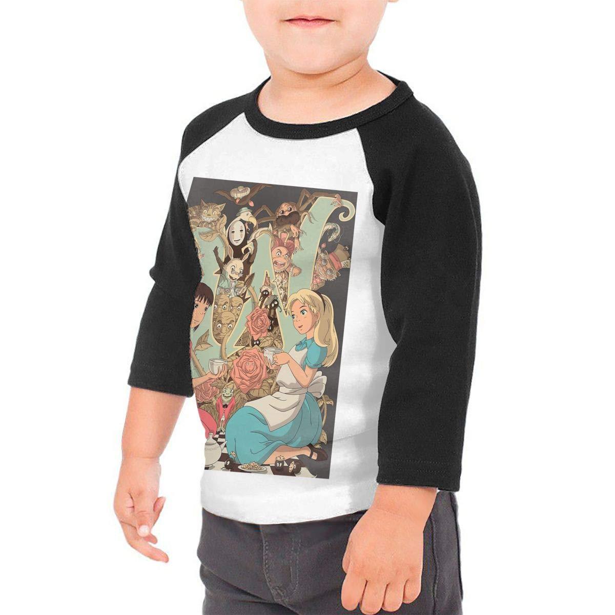 Black6Red Wonderlands Childrens 3//4 Sleeve T-Shirt