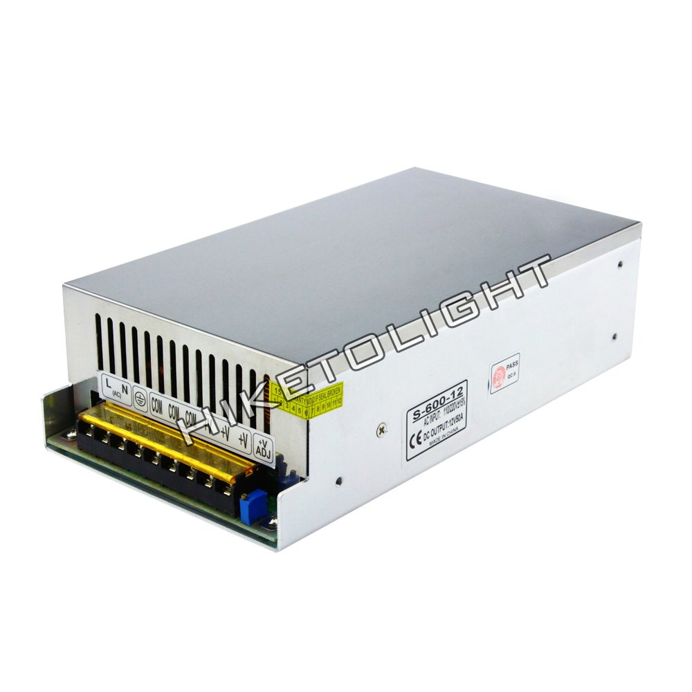 MOVINGTECH LED Power Supply DC Output 12V 50A 600W Aluminum Box Universal Regulated Switching Adaptor Transformer Driver AC Input 110/220V for 12V LED Strip Module CCTV