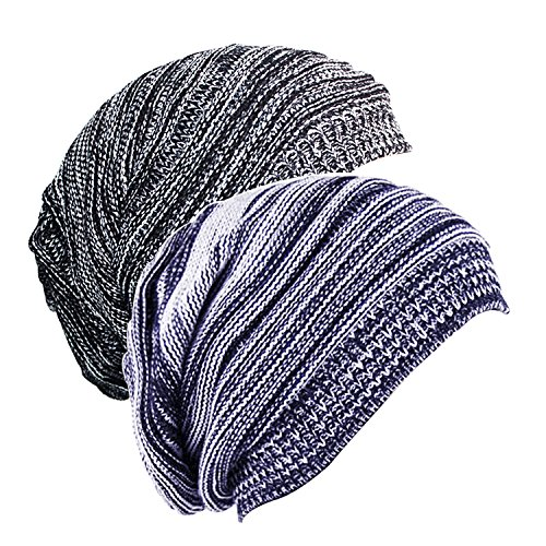 2 Pack Stylish Wrinkled Beanie Cap Slouchy Skull Hat (one size, Navy/Black)