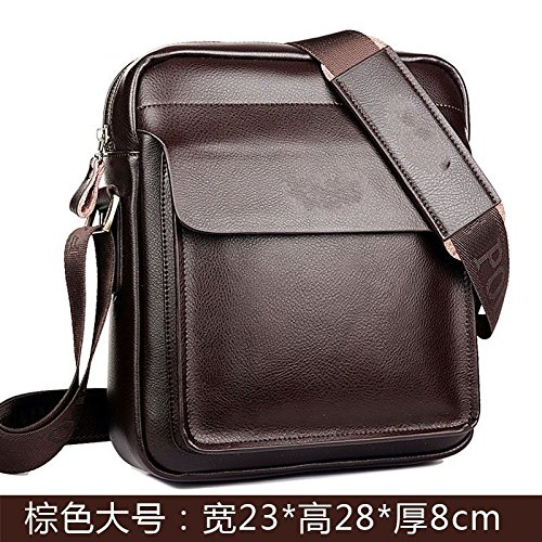 Djbhnzzz Bag Bag Men Leather Messenger Bag Small Bag Upright Leisure Backpack Bag Casual Brown Black C B