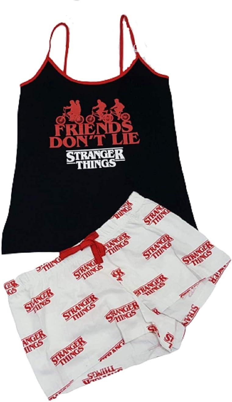 Conjunto de Pijama de Netflix Stranger Things con Camiseta sin Mangas y Pantalones Cortos Blancos: Amazon.es: Ropa y accesorios