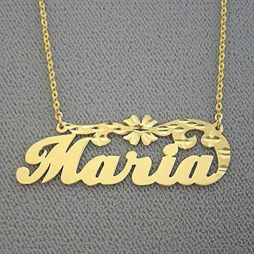 10k Personalized Gold Name Necklace Diamond Cut Flower Script Letters Nameplate ()