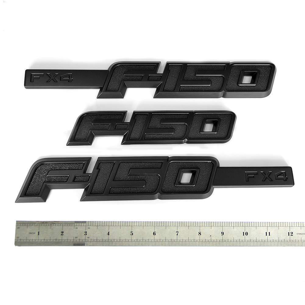 3pcs OEM F-150 Fx4 Emblem Fender F-150 Rear Tailgate Badge 3D Nameplate Replacement for F150 Origianl Size Genuine Parts Black