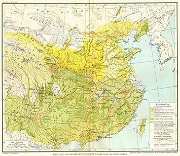 Carte Chine Antique.Chine Geographie Physique Avec Les Limites De La Chine