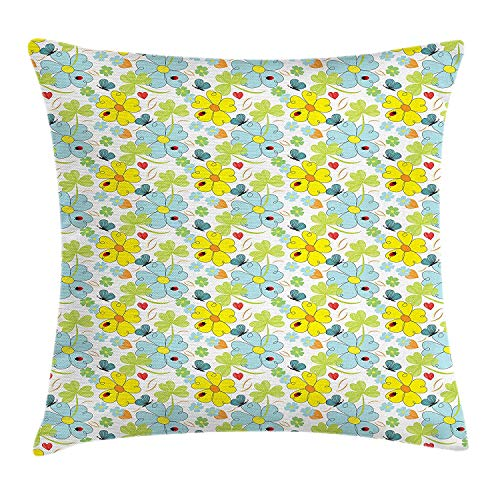 K0k2t0 Yellow and Blue Throw Pillow Cushion Cover, Daisies and Shamrock Flowers with Hand Drawn Style Hearts and Ladybugs, Decorative Square Accent Pillow Case, 18 X 18 inches, Multicolor]()