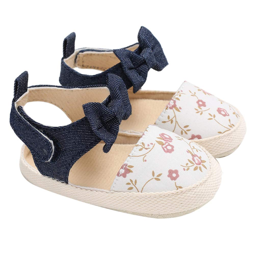 yuye-xthriv Baby Girls Toddler Autumn Summer Floral Bowknot Soft Sole Shoes First Walker Yellow 1# 9-11M