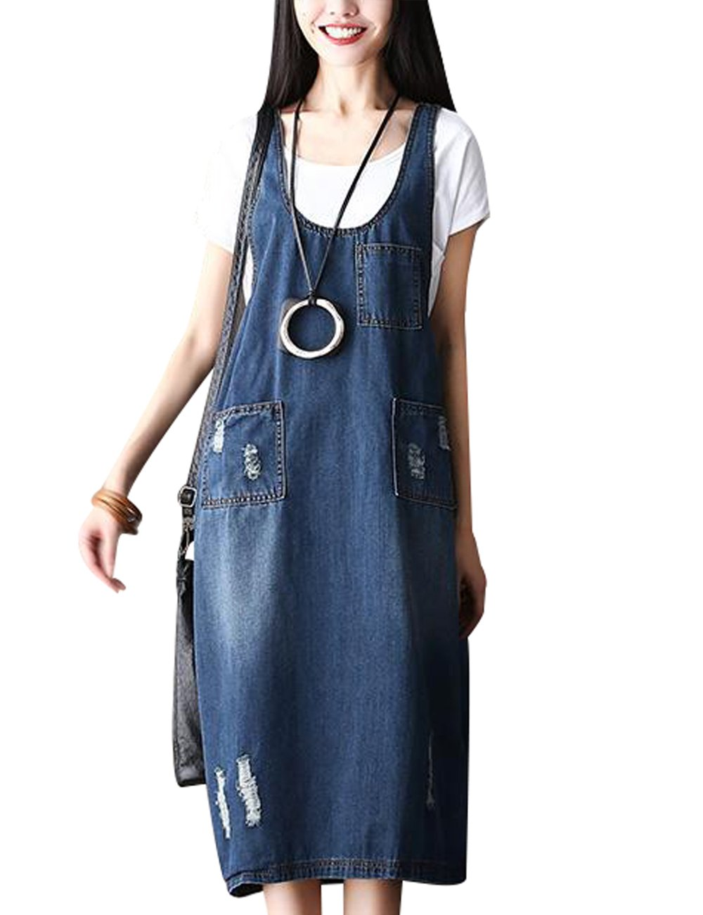Zoulee Womens Casual Fashion Denim Jean Overall Dress with Pockets Style 2 Blue