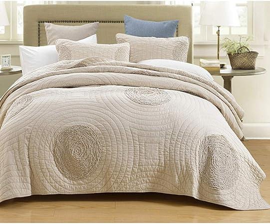 blu pavone colore Set di 3 pezzi di copriletto trapuntato in pizzo completamente trapuntato per letto queen size 269,2 x 243,8 cm