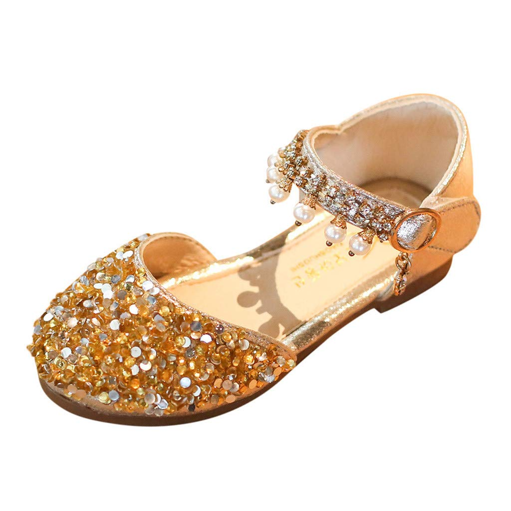 Yikey Girls Sandals Toddler Baby Girls Pearl Crystal Sequins Party Princess Shoes Sandals