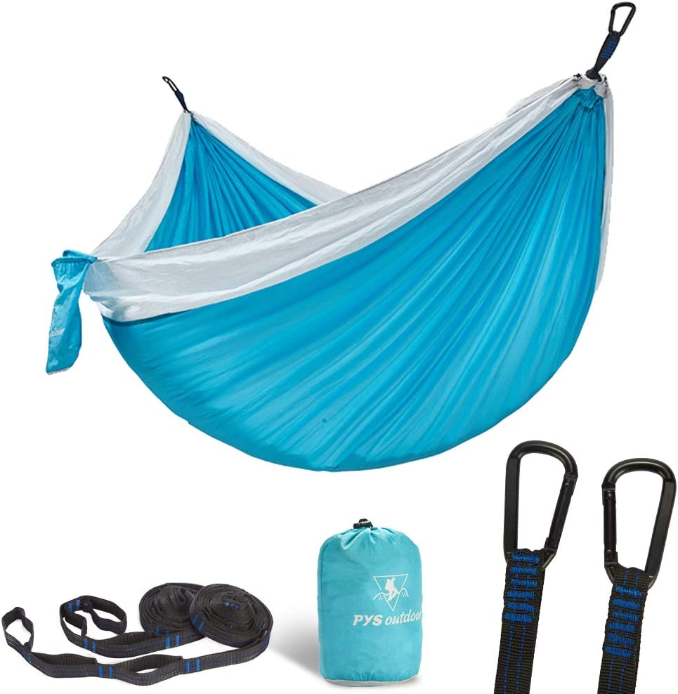 pys Double Portable Camping Hammock with Straps Outdoor -Nylon Parachute Hammock with Tree Straps Set with Max 1200 lbs Breaking Capacity, for Backpacking, Hiking, Travel Lake Blue White