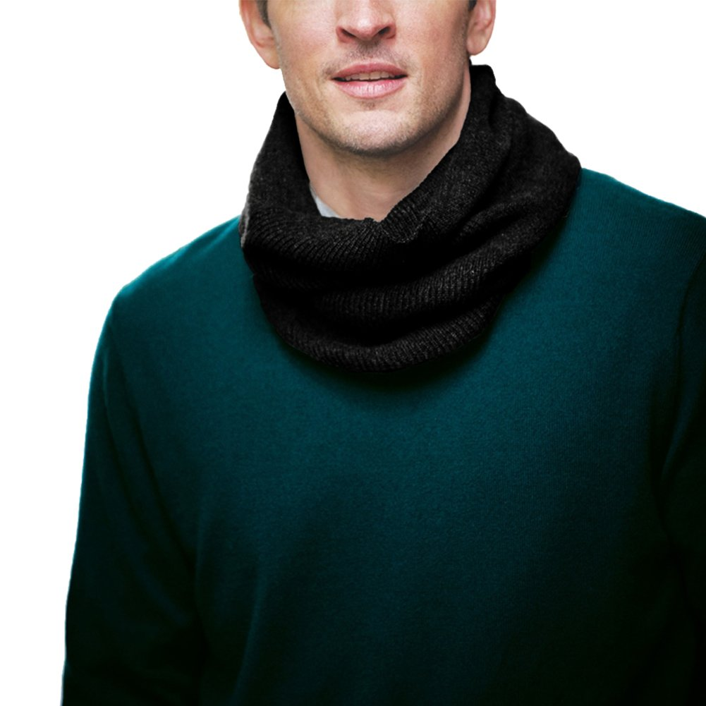 Parisbonbon Men's 100% Cashmere Ribbing Neck Warmer Color Black One Size