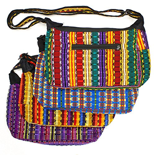 Woven Carry On - Cotton Hand Woven Guatemala Purse Tote Hand Bag Artisan Made Bright Multicolored Assortment
