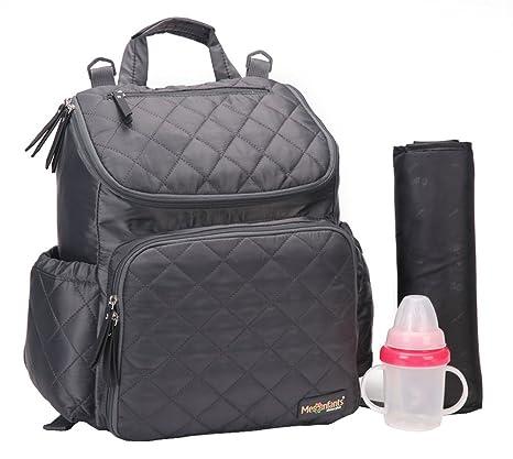 amyamy bebé pañal pañales bolsa o mochilas Gran Capacidad con almohadilla de pañales para carrito plateado