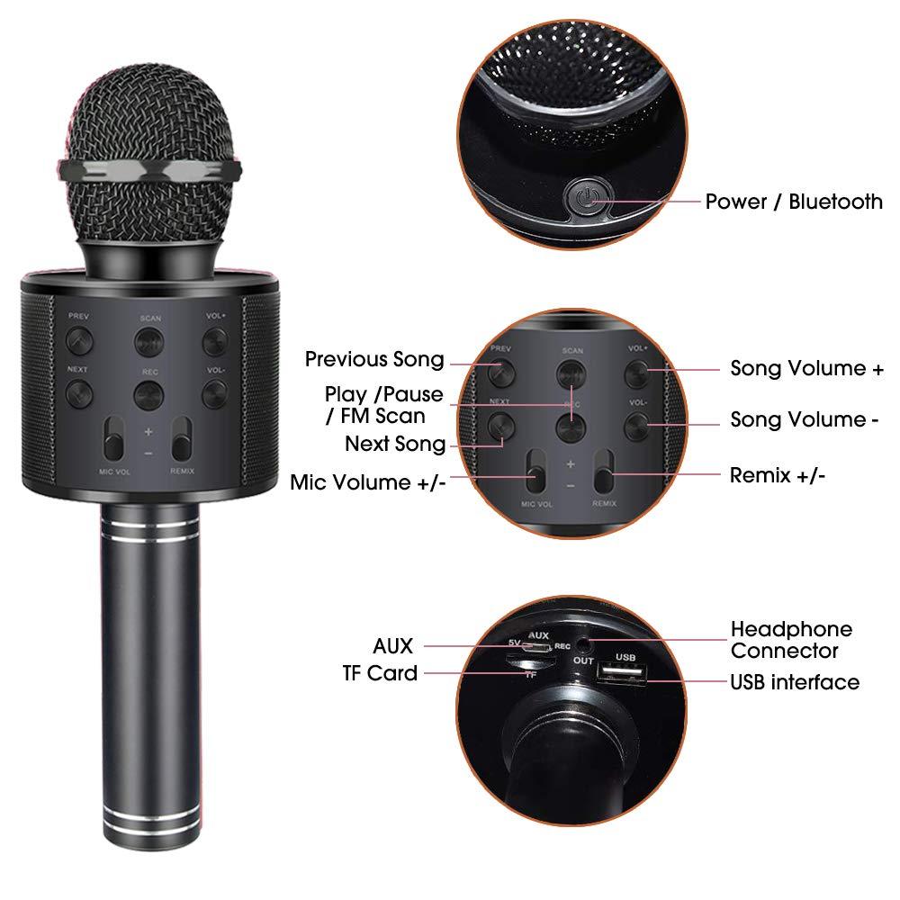 Henkelion Wireless Bluetooth Karaoke Microphone for Kids, Kids Karaoke Machine Portable Handheld Mic Speaker Toy Home Party Birthday Graduation for iPhone Android iPad All Smartphone - Black by Henkelion (Image #4)