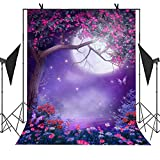 MEETS 5x7ft Magic Forest Photography Backdrop Flower Tree Various Color Flower Butterfly Moon Fantasy Background Newborn Child Photo Studio Props Themed Party Curtain Background MT391